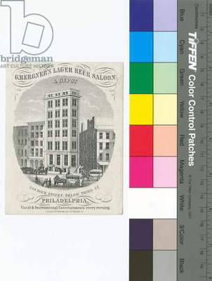 G[ustavus] Bergner's Lager Beer Saloon & Depot, 239 Dock Street, below Third St., Philadelphia, printed by Schnabel & Finkeldey, 1859 (etched litho)