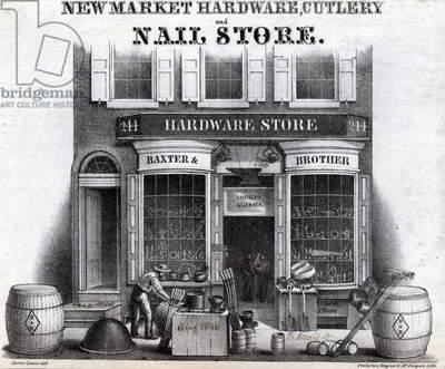 Newmarket hardware, cutlery and nail store, 244 South Second Street, Philadelphia, printed by Pinkerton, Wagner & McGuigan, August 1846 (litho)