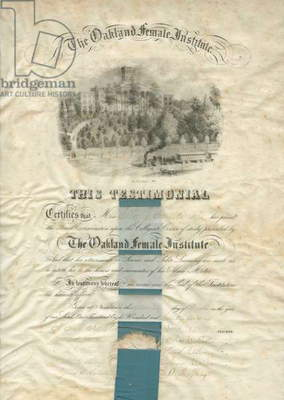 The Oakland Female Institute diploma, printed by P.S. Duval & Co., c.1856 (litho)