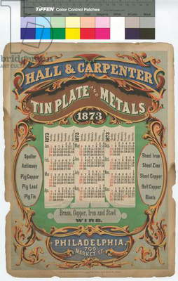 Hall & Carpenter, Tin plate & metals, 709 Market St. Philadelphia, printed by Gillin, M'guigan & White, 1873 (chromolitho)