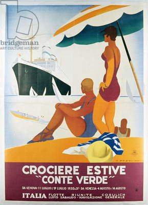 Poster advertising the 'Conte Verde', 1932 (colour litho)