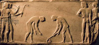 Young men playing with sticks and a ball, from a statue base found in the Dipylon Cemetery, Athens, c.510 BC (marble) (see also 60008 and 60010-11)