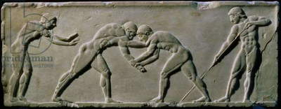 Young men wrestling, from a statue base found in the Dipylon Cemetery, Athens, c.510 BC (marble) (see also 60008-9 and 60011)