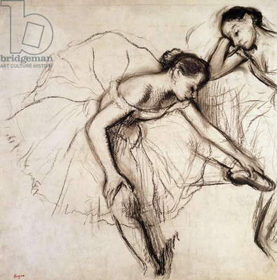 Two Dancers Resting (charcoal on paper)