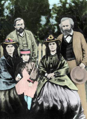Friedrich Engels and Karl Marx, with Jenny, Eleanor and Laura Marx, 1864 (hand-coloured photo)