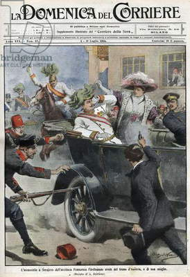 Assassination of Franz Ferdinand  and his wife Sophie, Sarajevo, Bosnia, June 28th 1914