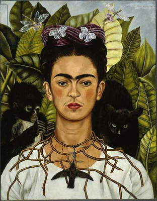 Self-Portrait with Thorn Necklace and Hummingbird, 1940 (oil on canvas)