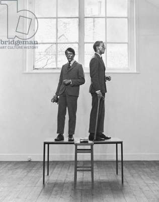 Gilbert and George, The Singing Sculpture, 1970 (b/w photo)