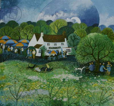 The Barley Mow. Watercolour inks 2009