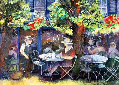 Cafe Jules, 1994 (acrylic ink, gouache)