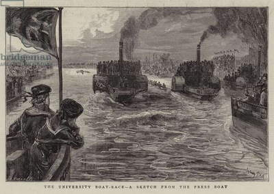 The University Boat-Race, a Sketch from the Press Boat (engraving)