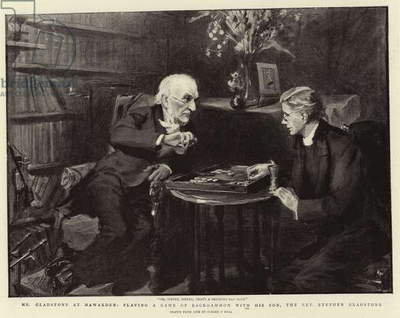 Mr Gladstone at Hawarden, playing a Game of Backgammon with his Son, the Reverend Stephen Gladstone (litho)