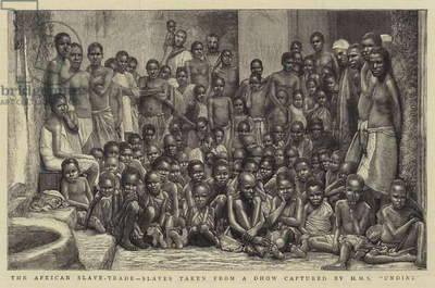 The African Slave-Trade, Slaves taken from a Dhow captured by HMS