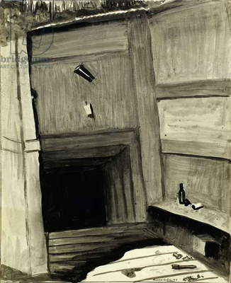A dug-out at Ovillers, 1918 (w/c on paper)