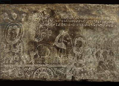 Engraved stone panel depicting the Bhojajania Jataka Tale, from Wat Si Chum, Sukhothai, 14th-15th century