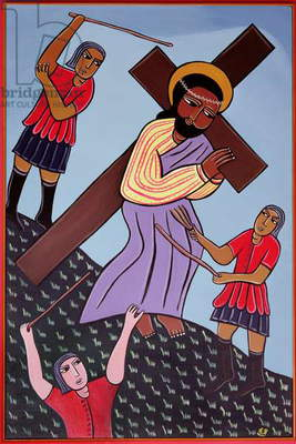 Jesus Bears His Cross, no. 2 in '14 Stations of the Cross' series, 2002 (acrylic on canvas) (see also 192720, 192722-733)