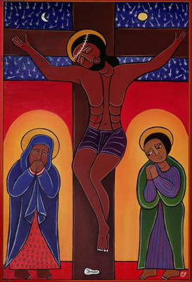 Jesus Dies (Crucifixion) no. 12 in '14 Stations of the Cross' series, 2002 (acrylic on canvas) (see also 192720-730, 192732-733)