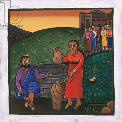 Rebecca and Eliezer at the Well (acrylic on canvas)