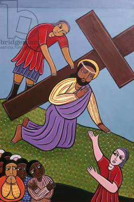 Jesus Falls Beneath the Cross, no. 3 in '14 Stations of the Cross' series, 2002 (acrylic on canvas) (see also 192720-721, 192723-733)