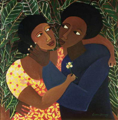 Couple with Leaves, 1997 (acrylic on canvas)