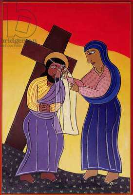 Jesus and Veronica, no. 6 in '14 Stations of the Cross' series, 2002 (acrylic on canvas) (see also 192720-724, 192726-733)