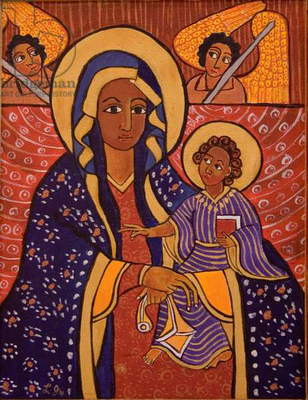 Mary and Jesus, 1991 (acrylic on canvas)