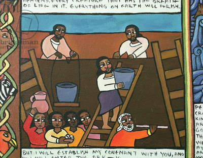 The Covenant of Yahweh with Noah, a detail from Noah and the Flood Scroll, 1996 (acrylic on canvas)