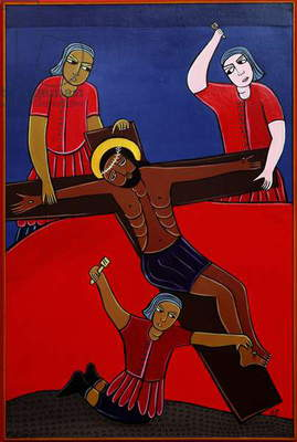 Jesus is Nailed to the Cross, no. 11 in '14 Stations of the Cross' series, 2002 (acrylic on canvas) (see also 192720-729, 192731-733)