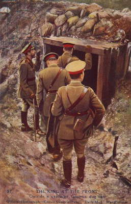 King George V about to enter a captured German dugout on a visit to the front, World War I (coloured photo)