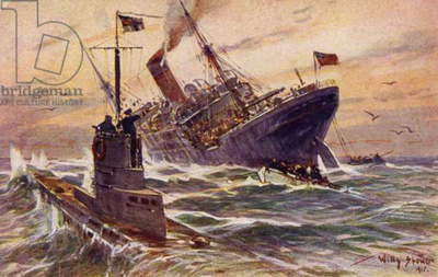 Destruction of a British merchant steamer by a German U-boat, World War I, 1915 (colour litho)