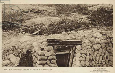 Captured German dugout near La Boisselle, Battle of the Somme, World War I, 1916 (b/w photo)