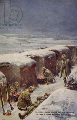 Indian soldiers in a trench in the snow, World War I (colour litho)