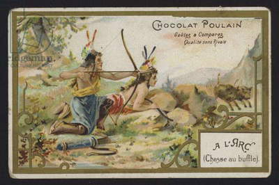 Native Americans hunting buffalo with bows and arrows (chromolitho)