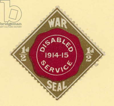 War Seal - disabled service 1914-1915 (colour litho)