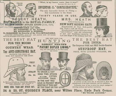 Advert for Robert Heath, hatmaker to the Royal Family (engraving)