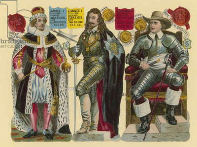 Victorian scrap: King James I, King Charles I, Oliver Cromwell