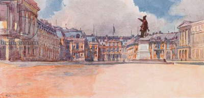 Palace of Versailles, Side facing the Courts, Versailles (colour litho)