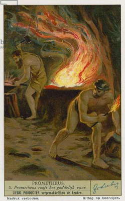 Prometheus stealing fire from the Gods (chromolitho)