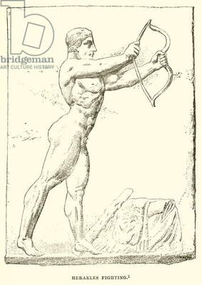 Herakles fighting (engraving)