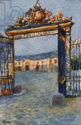 Gateway of Palace, and Grand Stables, Versailles (colour litho)