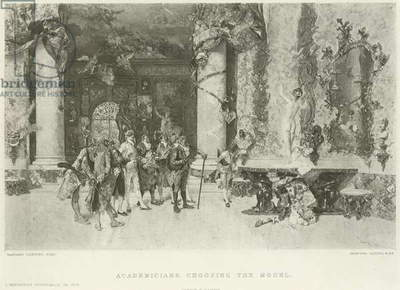 Academicians choosing the model (gravure)