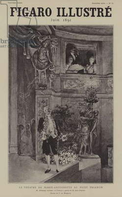 French actor Louis Arsene Delaunay reciting Jules Claretie's poem A Trianon at the Theatre de Marie Antoinette at the Petit Trianon, Versailles (litho)