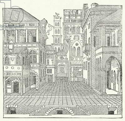 Stage design by Italian Mannerist architect Sebastiano Serlio for a comedy (engraving)