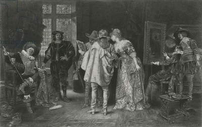Conoisseurs at Rembrandt's Studio, illustration from 'Great Men and Famous Women' (litho)