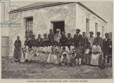London Missionary Institution, Lifu, Loyalty Islands (engraving)
