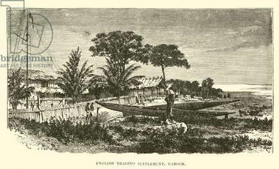 English trading settlement, Gaboon (engraving)