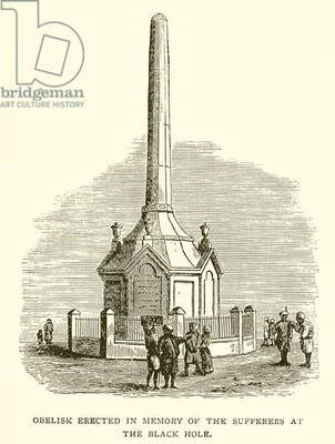 Obelisk erected in memory of the sufferers at the Black Hole of Calcutta (engraving)