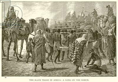 The Slave Trade in Africa: A Gang on the March (engraving)