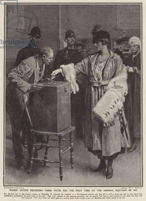 Women voters recording their votes for the first time at the General Election of 1918 (litho)