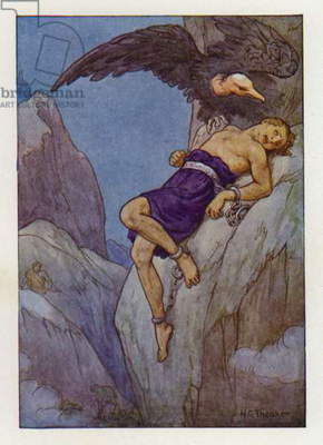 Prometheus chained to a rock (colour litho)